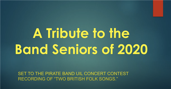 Title screen of Pirate Band Senior 2020 Tribute Video
