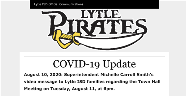 8-10-2020  Superintendent Michelle Carroll Smith's video message to Lytle ISD families regarding the Town Hall Meeting on Tuesday, August 11, at 6pm.