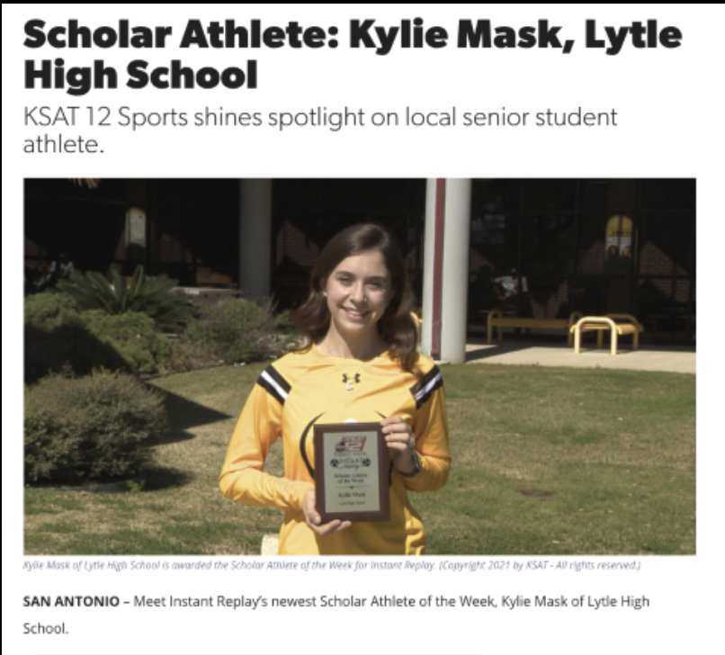 Kylie Mask is named KSAT-12 Instant Replay's Scholar Athlete of the Week!