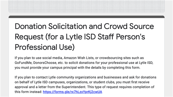 Donation Solicitation and Crowd Source Request Form