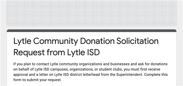 Lytle Community Donation Solicitation Request from Lytle ISD