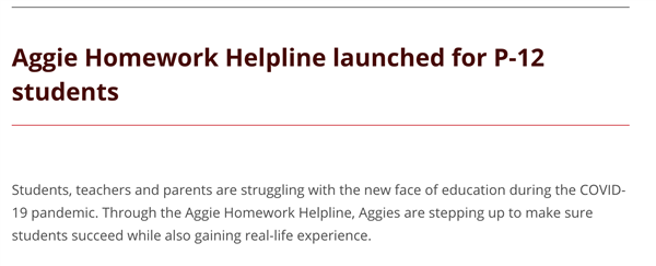 Aggie Homework Helpline for P-12 Students