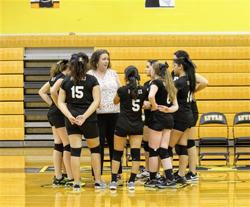 Freshman Volleyball in Huddle.