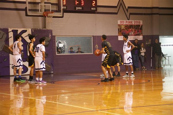 Boys Varsity set up for a free throw.