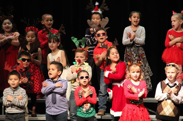 Kids preforming at the Christmas Program